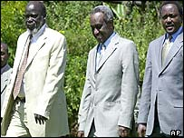 From left, SPLA's John Garang, Sudan's Vice President Ali Osman Mohammed Taha at peace talks in Kenya