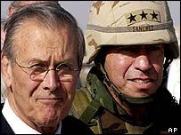 US Defence Secretary Donald Rumsfeld with Lt Gen Ricardo S Sanchez upon his arrival at Baghdad International Airport