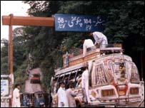 Passenger bus leaving Muzaffarabad for Chakothi, last border town in Pakistani administered Kashmir