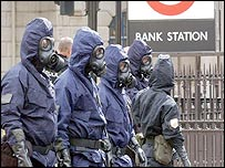 Emergency services in protective suits