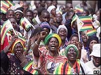 Supporters of Mr Mugabe's Zanu-PF party