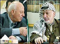 Palestinian leader Yasser Arafat (right) with parliamentary speaker Ahmed Qurei