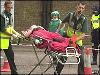 A 'casualty' on a stretcher