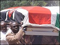 Wamalwa's coffin carried on his final journey