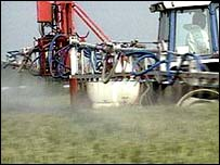 A farmer spraying pesticides