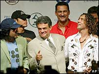 From left in rear are Julio Iglesias Jr and Kike Santander. From lower left, front row, are, Jorge Villamizar, Jose Jose, wearing tie, and David Bisbal