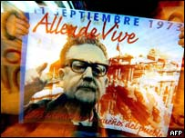 A supporter of deceased President Salvador Allende holds a banner with Mr Allende's photograph during a commemorative demonstration