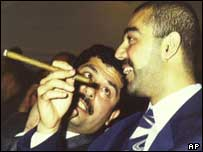 Saddam Hussein's sons Qusay (left) and Uday