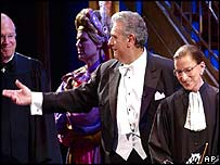 Placido Domingo escorts Anthony Kennedy and Ruth Bader Ginsburg