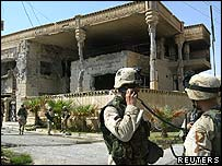 US troops outside the villa in Mosul