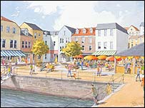 Artist's impression of Falmouth's Town Square