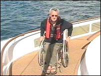 Mike Browne aboard the yacht