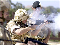 British troops training before leaving Cyprus for Iraq