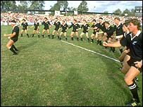 New Zealand perform the haka at the inaugural World Cup
