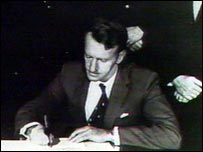 Ian Smith declaring Rhodesian independence in 1965