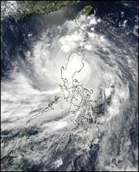 Imbudo over the Philippines, as seen from space