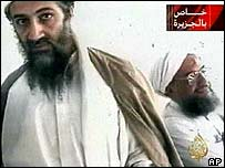 Osama Bin Laden and his deputy Ayman al-Zawahri in tape broadcast on al-Jazeera, 5 October 2001
