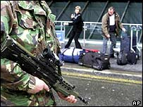 Soldier at Heathrow after security alert