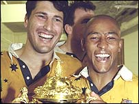 John Eales (left) and George Gregan celebrate winning the 1999 World Cup