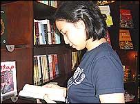 Livia, at QB bookstore in Jakarta