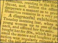 A Dorset County Chronicle article about a wife sale