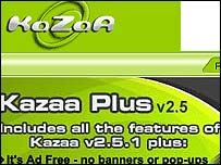 Screengrab of Kazaa homepage