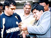 Mr Verma with coconut