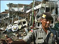 A policeman at the scene of the Bali nightclub bombing