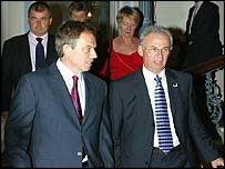 Tony Blair with TUC president Nigel de Gruchy