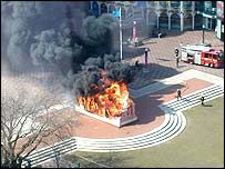 Picture of the burning statue taken by Caroline Ellis from Birmingham Property Services