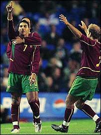 Ricardo Quaresma celebrates scoring Portugal's opener