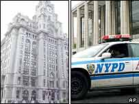 Liverpool's Royal Liver building, left, and a New York police patrol car outside the Lincoln Centre
