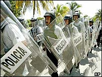 Riot police in Cancun