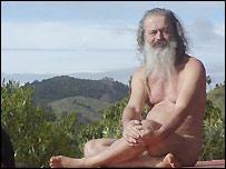 Holy man with Tamil Nadu hillside