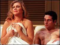 Actress Kathleen Turner in the role of Mrs Robinson alongside  Matthew Rhys as Benjamin Braddock
