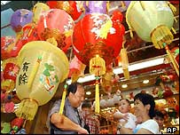 Lanterns on sale in Hong Kong