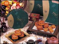 Mooncakes on sale at the Mandarin Oriental Hotel ( photo courtesy of the Mandarin Oriental)