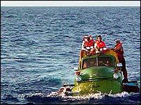 Cubans' improvised motor boat