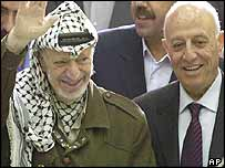 Yasser Arafat (l) with Ahmed Qurei
