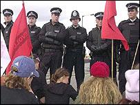 Police at the arms fair