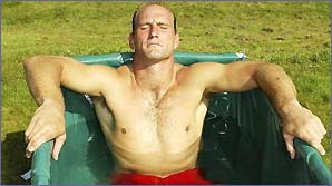 Lawrence Dallaglio soaks in an ice bath