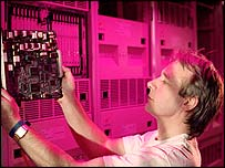 BT engineer working on an exchange