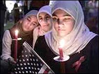 Muslim women at a vigil in Dearborn, Michigan, for the 11 September victims