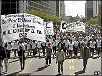 Hundreds of anti-International Monetary Fund (IMF) demonstrators protest in Buenos Aires