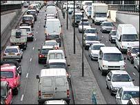 Traffic jams in London
