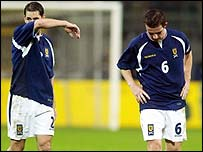 Jackie McNamara and Barry Ferguson after the match in Dortmund