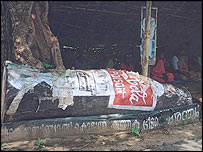 A prop used by anti-Coca-Cola protesters in Kerala