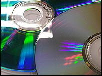 Close-up of CDs