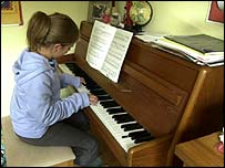 Girl practising the piano