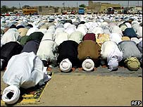 Iraqis at Friday prayers